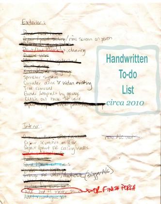 Actual handwritten list